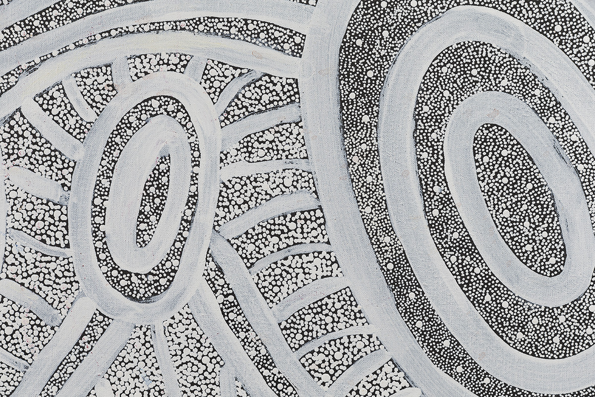 Janganpa Jukurrpa (Brush-tail Possum Dreaming) - Mawurrji Detail - Judith Nungarrayi Martin, Warlukurlangu Artists of Yuendumu